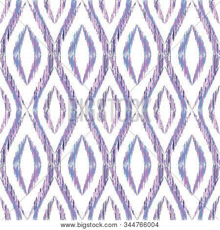 Ikat Ogee Seamless Vector Pattern Illustration. Ethnic Fabric Print Geometric Ikat Pattern. Minimal