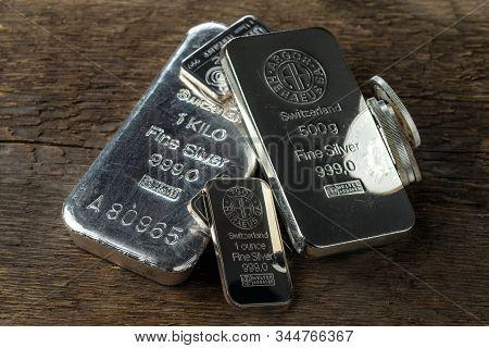 Kyiv, Ukraine - January 03, 2018 Several Silver Bars Produced At The Swiss Factory Argor-heraeus - I