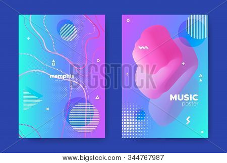 Pink Music Poster. Nightclub Party Brochure. Graphic Memphis Pattern. Blue Liquid Cover. Hipster Mus