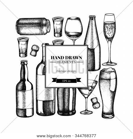 Square Design With Black And White Glass, Champagne, Mug Of Beer, Alcohol Shot, Bottles Of Beer, Bot