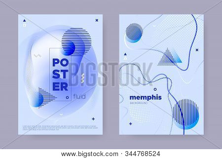 Blue Abstract Memphis Gradient. Summer Flow Poster. Wave Pattern. Graphic Geometric Template. Abstra