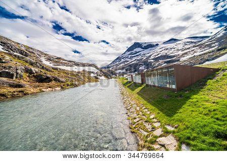 Trollstigen, Norway - June, 2019: Famous Norwegian Mountains Road Trollstigen Top View Of Valley.