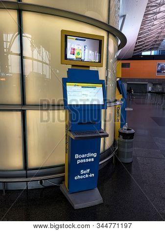Ukraine, Boryspil - October 22, 2019: Automatic Machine For Online Check-in On Boryspil Internationa