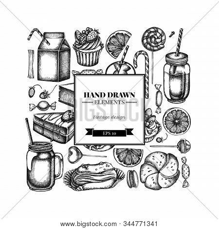 Square Design With Black And White Cinnamon, Macaron, Lollipop, Bar, Candies, Oranges, Buns And Brea