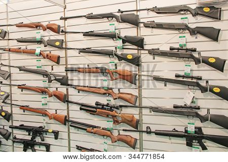 Kyiv / Ukraine. 28 September 2018: Hunting And Sporting Guns Presented At Exhibition For Sale. Wide