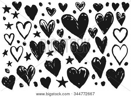 Collection Of Vector Black Ink Hearts And Stars For Valentines Day Greeting Cards And Banners Design