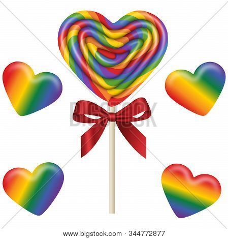 Set Isolated Heart Shaped Lollipop And Gummy Candies With The Colors Of The Rainbow