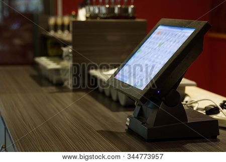 Point Of Sale System In A Restaurant. Close-up View.