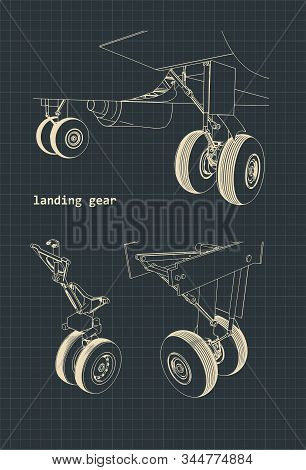Stylized Vector Illustration Of Drawings Of An Airplane Landing Gear