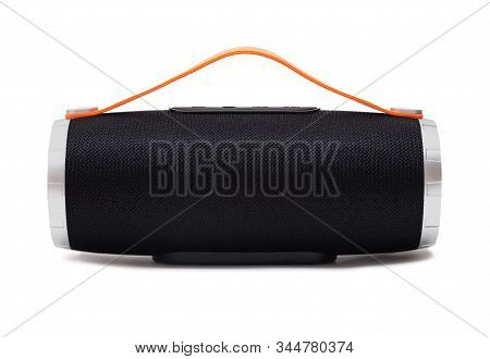 Portable Bluetooth Speaker With Silicone Handle Isolated On White Background
