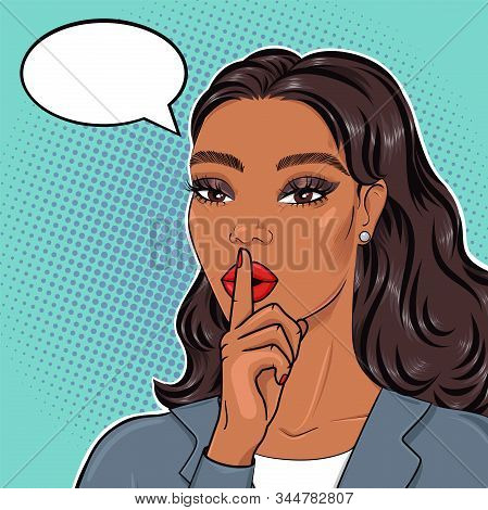 Pop Art African American Business Woman In Suit Holding Finger On Lips For Stop Talking, Keeping Top