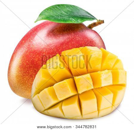 Mango fruit with mango cubes. Isolated on a white background. File contains clipping path.