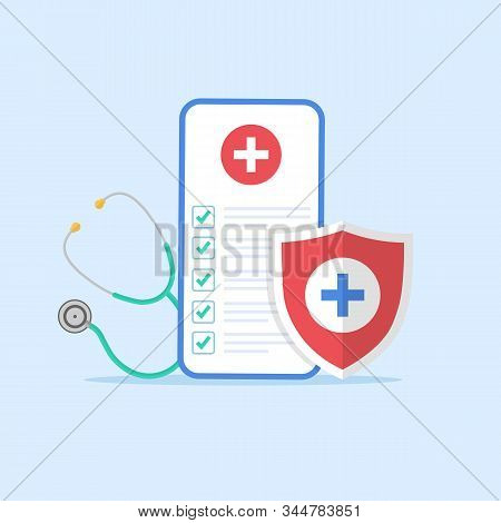 Medical Form List With Results Data And Approved Check Mark On Mobile Phone Vector, Flat Cartoon Cli