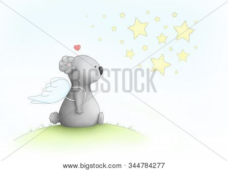 Cute Hand Drawn Sad Koala Bear Drawing, Sitting Wearing Angel Wings, Looking At Stars, Missing Loved
