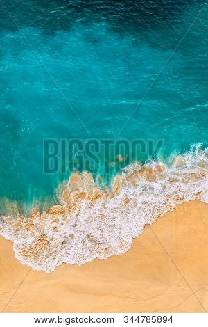Beautiful Sandy Beach With Turquoise Sea, Vertical View. Drone View Of Tropical Turquoise Ocean Beac