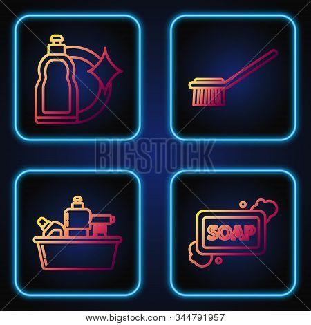 Set Line Bar Of Soap With Foam , Plastic Bottles For Liquid Dishwashing Liquid, Plastic Bottles For