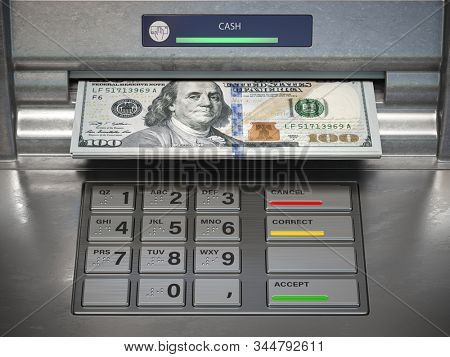 Wthdrawing dmonet from ATM machine. Dollar banknotes in cashpoint. 3d illustration