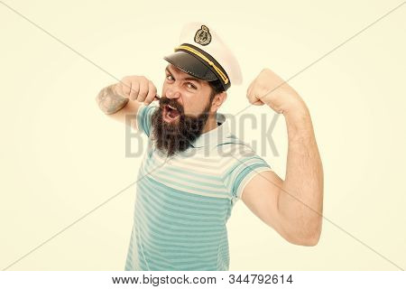 Lord Of The Seas. Travel Concept. Summer Vacation. Hipster Beard Mustache Sailor Hat. Captain Cruise