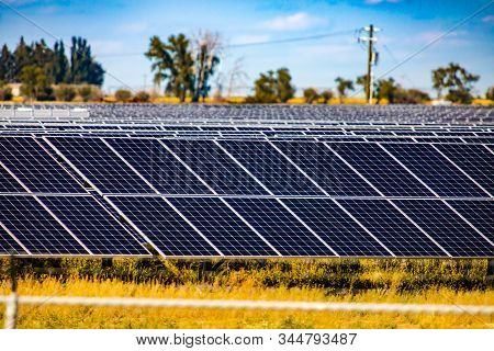 A Wide View Of Photovoltaic, Pv, Solar Panels At A Renewable Energy Farm In Rural Saskatchewan, Cana