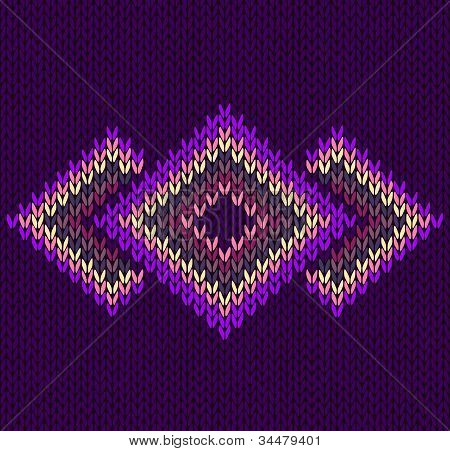 Style Seamless Pink Violet Red Color Knitted Vector Pattern