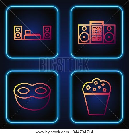 Set Line Popcorn In Cardboard Box , Festive Mask , Home Stereo With Two Speakers And Home Stereo Wit