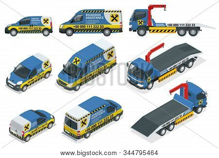 Online Roadside Assistance. Set Of Tow Truck For Transportation Faults And Emergency Cars. Roadside