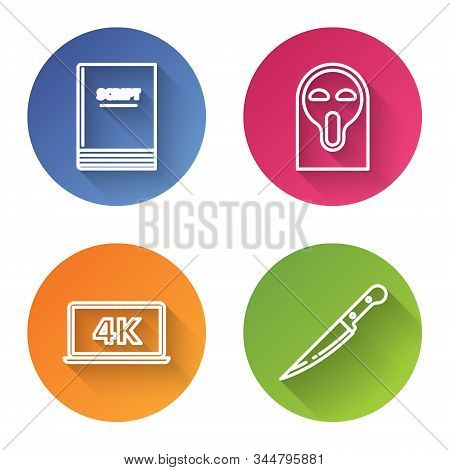 Set line Scenario , Funny and scary ghost mask, Laptop screen with 4k video technology and Knife . Color circle button. Vector poster