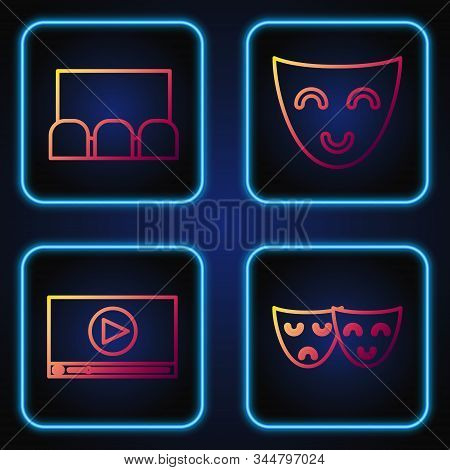 Set Line Comedy And Tragedy Theatrical Masks , Online Play Video , Cinema Auditorium With Screen And