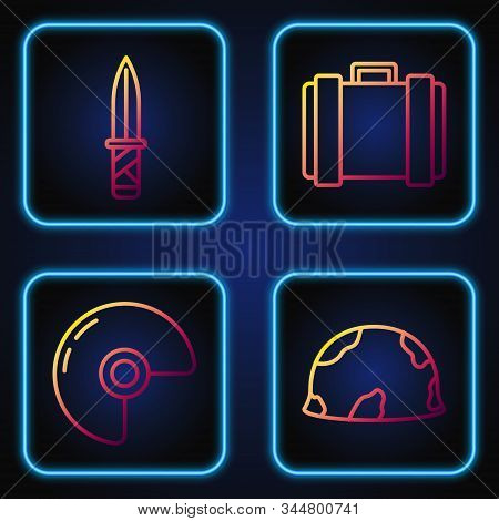 Set Line Military Helmet , Military Helmet , Military Knife And Military Ammunition Box. Gradient Co