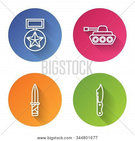 Set Line Military Reward Medal , Military Tank , Military Knife And Military Knife . Color Circle Bu