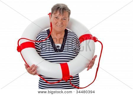 Senior woman with lifebelt