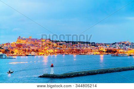 Marina With Ships At Cagliari At Dusk Reflex