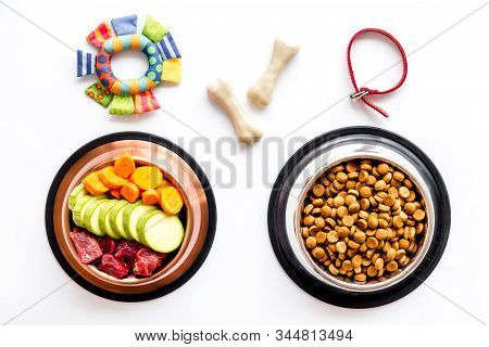 Dog Feed - Dry Food And Raw Meat - Near Toy And Cheving Bones On White Background Top View