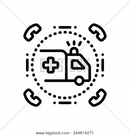 Black Line Icon For Emergencies Exigency Necessity Rescue Transportation Ambulance Paramedic