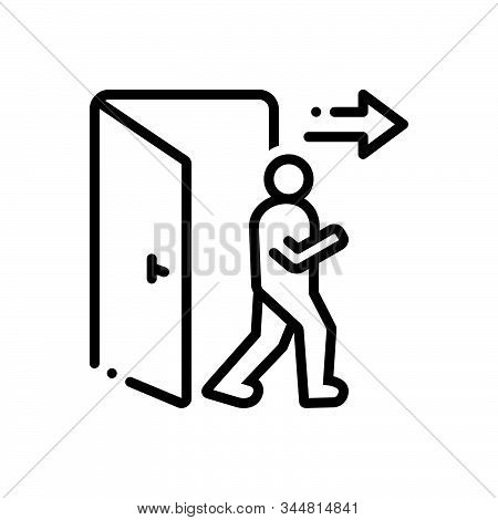 Black Line Icon For Exit Egress Evacuation Outturn Vent