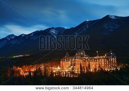 BANFF, CANADA - SEP 13: Fairmont Hotels at blue hour with forest in Banff National Park in Canada on September 13, 2018