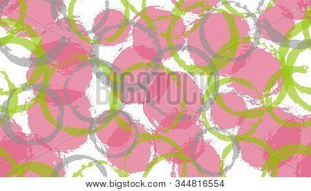 Creative Hand Drawn Circles Geometry Fabric Print. Circular Splotch Overlapping Elements Vector Seam