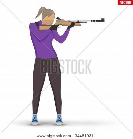 Shooter With Air Rifle. Shooting Sport Equipment Illustration. Athlete Shooter Woman Aiming. Vector