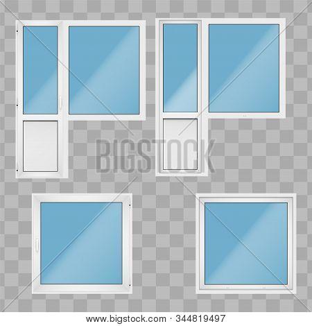 Set Of Metal Plastic Pvc Balcony Window And Door With Opening Casement. Indoor And Outdoor View. Pre