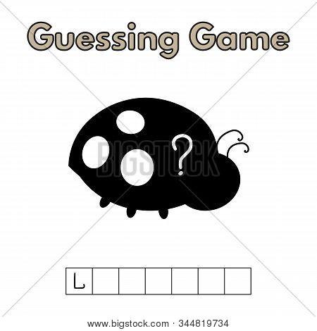 Cartoon Ladybug Guessing Game. Vector Illustration For Children Education
