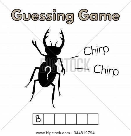 Cartoon Beetle Guessing Game. Vector Illustration For Children Education