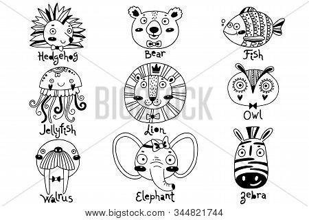 Avatars Funny Animal Faces Hedgehog Bear Fish Jellyfish Lion Owl Walrus Elephant Zebra. Vector Illus