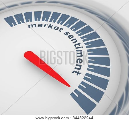 Market Sentiment Level Scale With Arrow. The Measuring Device Icon. Sign Tachometer, Speedometer, In