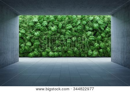 Vertical garden wall, green plants decoration in urban cultural zone, 3D illustration, rendering.