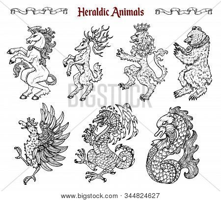 Design Set With Collection Of Heraldic Beasts And Animals Like Unicorn, Dragon, Lion Isolated On Whi