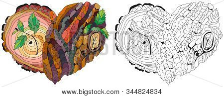 Sketchy Doodle Heart With Tree Bark Texture And Young Shoots. Color And Outline Set