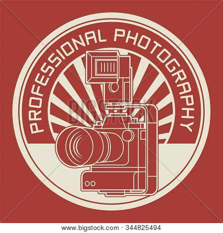 Professional Photography Badge Or Stamp, Photography Club Stamp, Vector Illustration