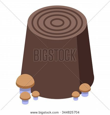 Mushroom On Tree Stump Icon. Isometric Of Mushroom On Tree Stump Vector Icon For Web Design Isolated