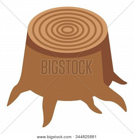 Oak Stump Icon. Isometric Of Oak Stump Vector Icon For Web Design Isolated On White Background