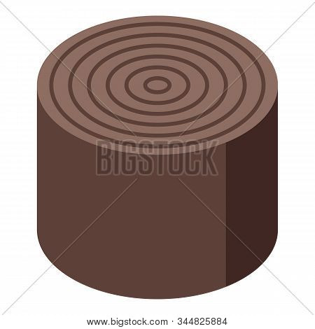 Round Stump Icon. Isometric Of Round Stump Vector Icon For Web Design Isolated On White Background